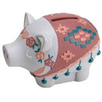 Amadeus - Petite tirelire cochon couronne de Fleurs modèle Gris