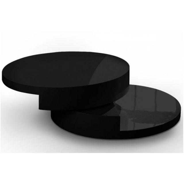 Declikdeco Table Basse Ronde Laque Noir Slide Pas Cher Achat