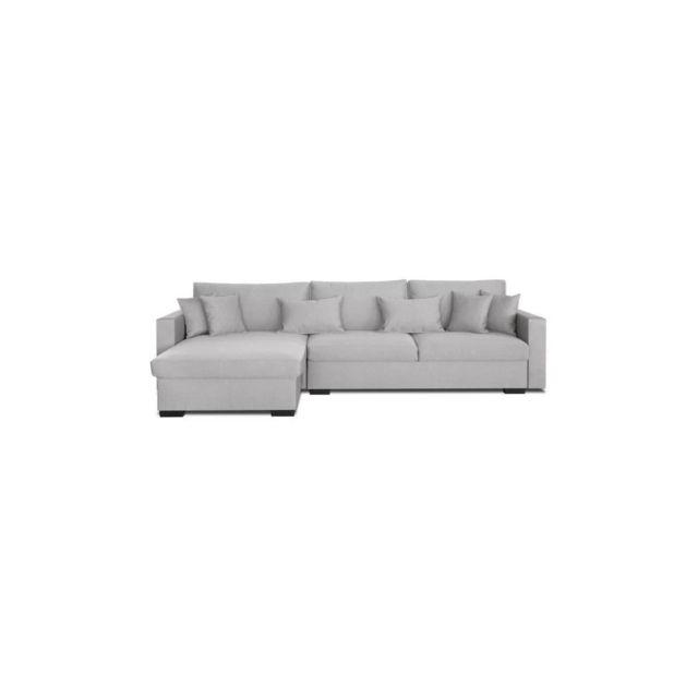 Sans Marque Malma Canape Dangle Reversible 5 Places - Tissu Gris Clair - Classique - L 290 X P103-173 Cm