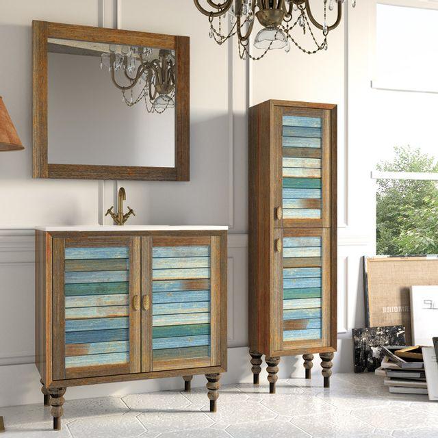 stylo colonne de salle de bain sur pieds 2 portes multicolore vintage pas cher achat vente. Black Bedroom Furniture Sets. Home Design Ideas