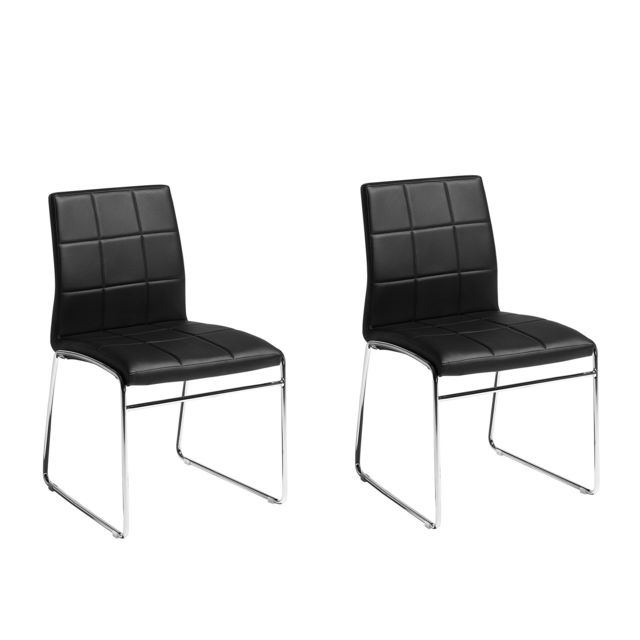 KIRON en de cuir Deux manger salle chaises simili à noir 80wPnOk