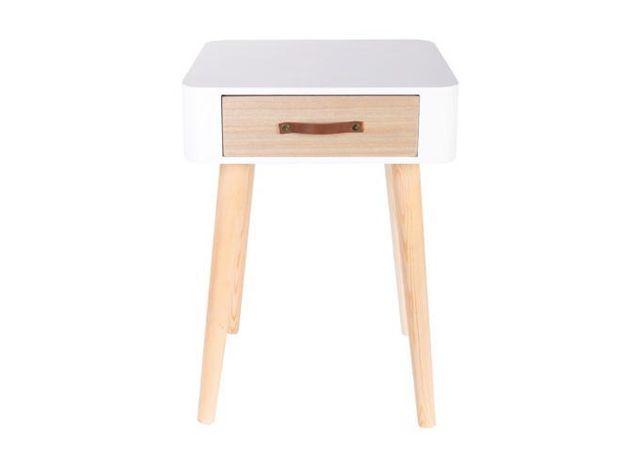declikdeco table de chevet blanche en bois kirko pas cher achat vente chevet rueducommerce. Black Bedroom Furniture Sets. Home Design Ideas