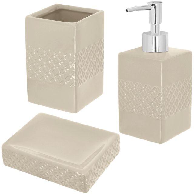 Set Salle De Bain Céramique Design Relief 3 Accessoires Distributeur Savon  Gobelet Porte Savon Crème Taupe