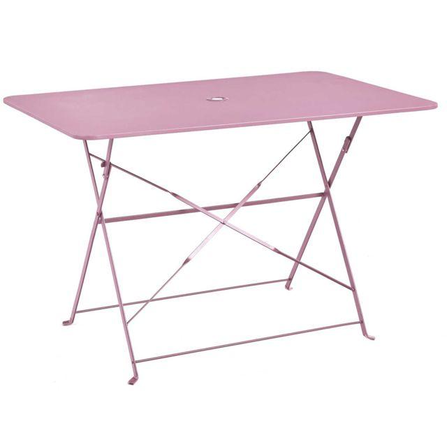 Table pliante rectangulaire en métal coloris chamallow - Dim : 110 x 70 x  70cm