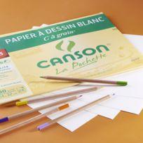 """CANSON - Pochette """"C"""" à grain® - Papier à dessin blanc - 24 x 32 cm"""