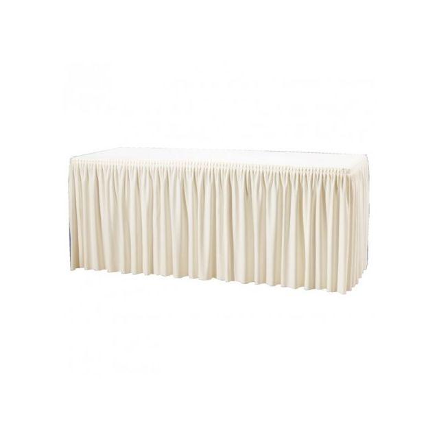 Materiel Chr Pro Nappe et jupe de table froncée écru pour Table Pliante 1.8m