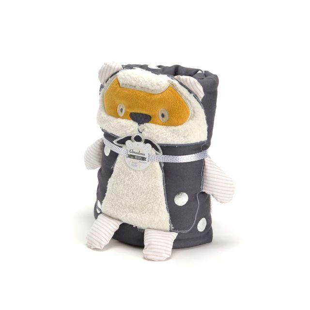Amadeus Plaid enfant 100% polyester motif ours et pois gris 75x100cm Douceur