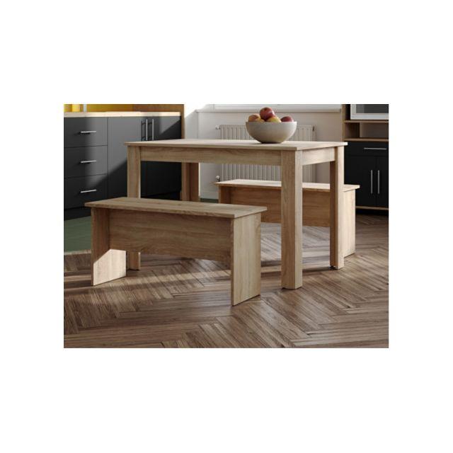 MARQUE GENERIQUE Ensemble table + 2 bancs BASTIEN - Coloris Chêne