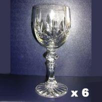 Cristal de Paris - Verres à pied vin x 6 cristal 17cl taillé Macon