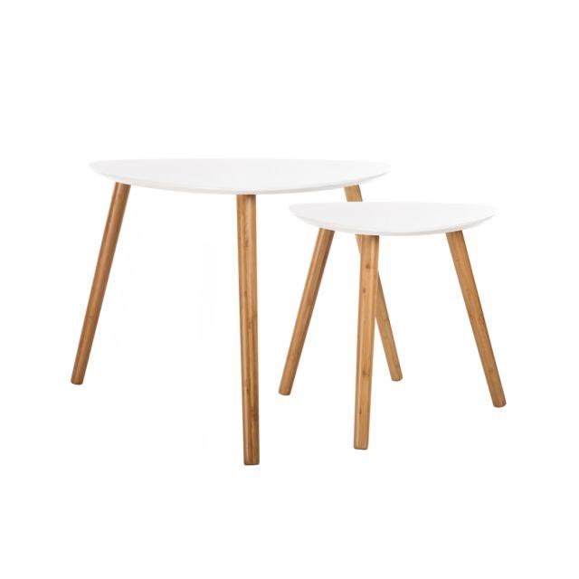 Rendez Vous Deco - Table basse Scandinave blanche lot de 2 60cm x 60cm x 48cm