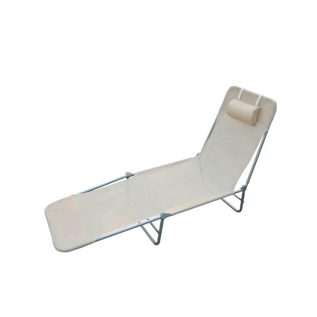 HOMCOM Chaise longue pliante bain de soleil inclinable transat textilene lit jardin plage creme 34