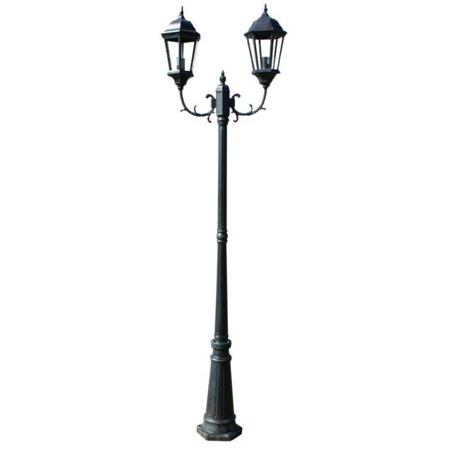 Helloshop26 Lampadaire extérieur double noir 230 cm luminaire décoration 2402087