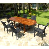Wood-en-Stock - Salon de jardin en teck huilé table 240 cm 6 fauteuils résine noire