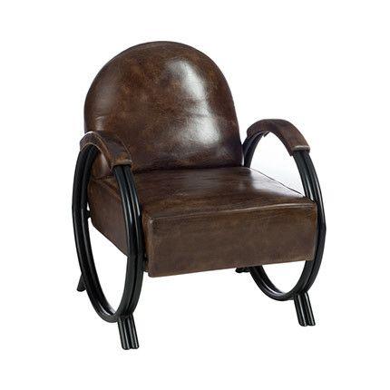 Fauteuil design en cuir et métal foncé