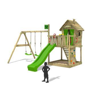 fatmoose aire de jeux en bois donkeydome double xxl tour d 39 escalade avec chelle toboggan et. Black Bedroom Furniture Sets. Home Design Ideas