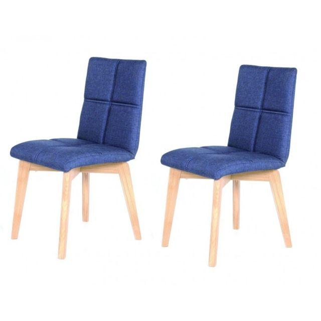 Meubletmoi Lot 2 chaises scandinave tissu Bleu Jean Indigo - Lea
