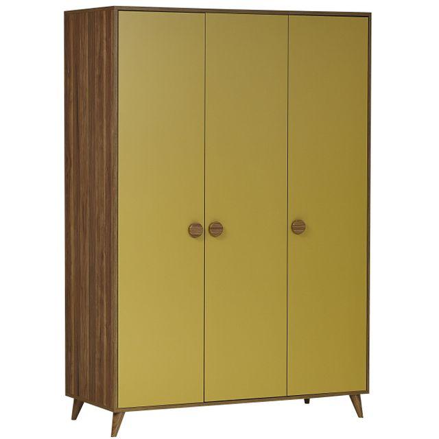 Comforium Armoire 135x197 cm style rétro en Mdf à 3 portes et poignées rondes coloris jaune et bois
