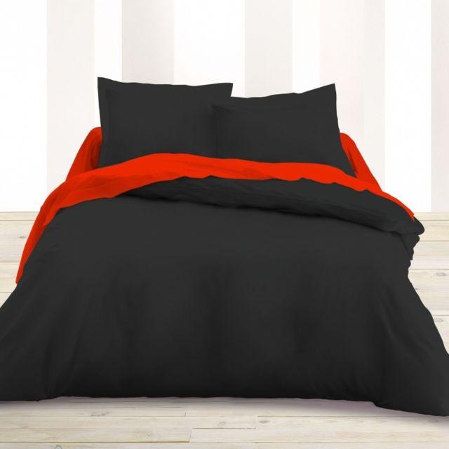 univers decor housse de couette 220 x 240 unie noire 100 coton 57 fils cm2 220cm x 240 cm. Black Bedroom Furniture Sets. Home Design Ideas