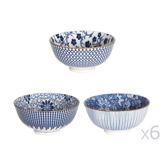 Table Passion Coupelle D.12cm en porcelaine motifs floral / graphique blanc et bleu - Lot de 6 pièces Sichuan