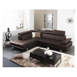 linea sofa canap d 39 angle cuir luxe italien effleurement chocolat angle gauche achat. Black Bedroom Furniture Sets. Home Design Ideas