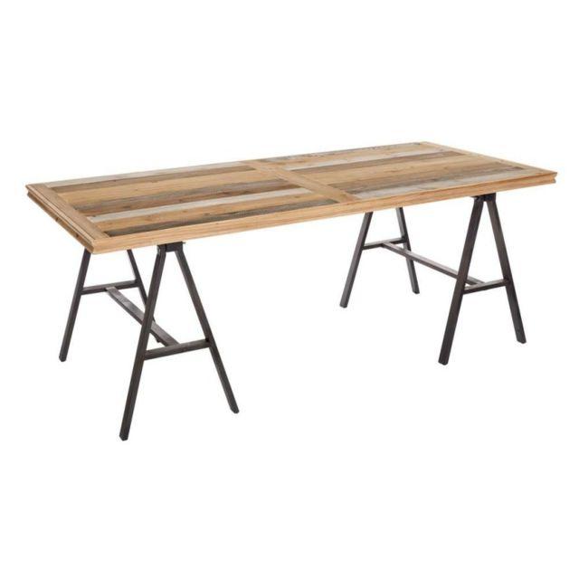 Ma Maison Mes Tendances Table à manger 195 cm en bois et pieds métal Mona - L 195 x l 90 x H 75