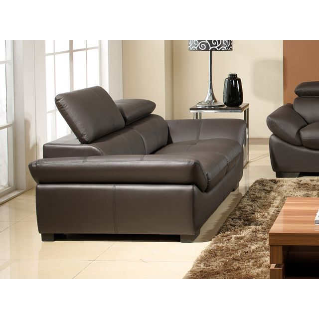 la maison du canap canap cuir 2 places borneo marron achat vente canap s pas chers. Black Bedroom Furniture Sets. Home Design Ideas