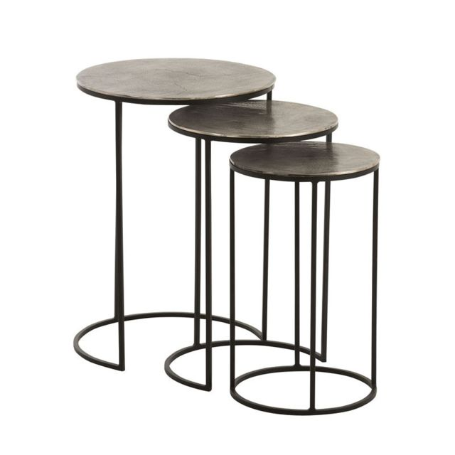 Tousmesmeubles Trio de Tables gigognes Métal Noir/Gris - Brookland