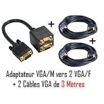Cabling - Cable 1 vga /m vers 2 vga /f + 2 câbles Vga M/M 3 mètres