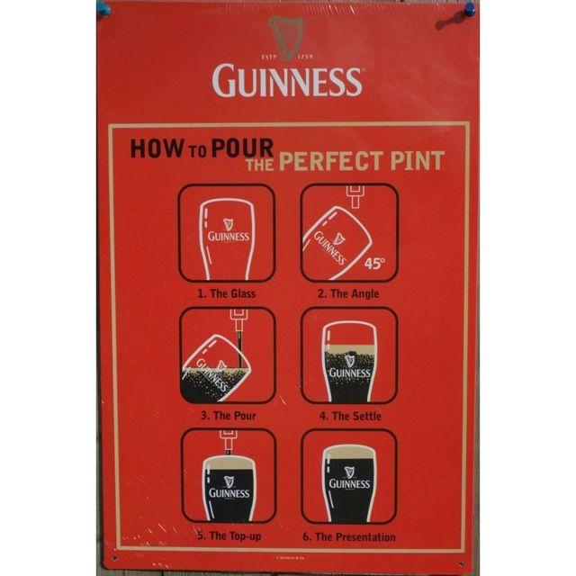 Universel Plaque guinness comment servir une biere tole orange pub