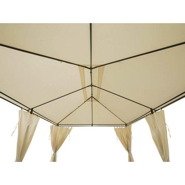 hesperide - toile de toit pour la tonnelle santorini 3 x 4 m ecru