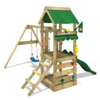 Wickey - Aire de jeux FreshFlyer Portique de jeux en bois avec balançoire et toboggan
