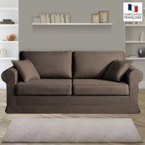 Home Spirit - Canapé 3 places fixes - 100% coton - coloris chocolat Adele
