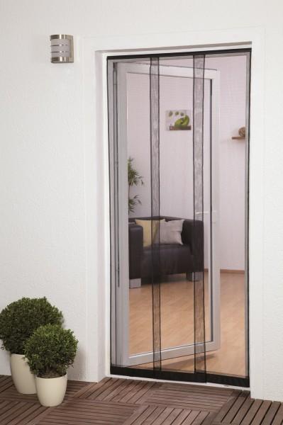 Moustiquaire Rideau 5 Lamelles avec Poids - Polyester - Noir - L125 x H240 cm
