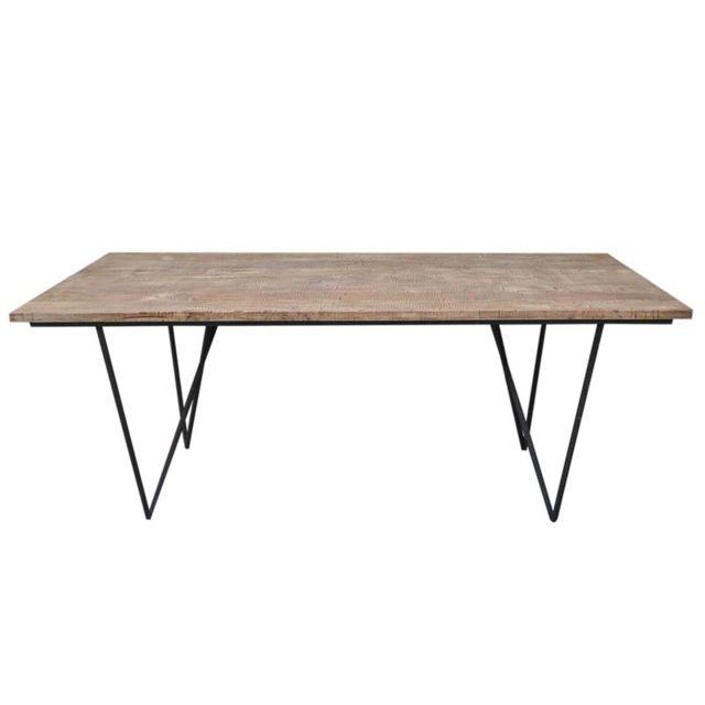 Tousmesmeubles Table de repas en bois - Factory - L 200 x l 90 x H 75