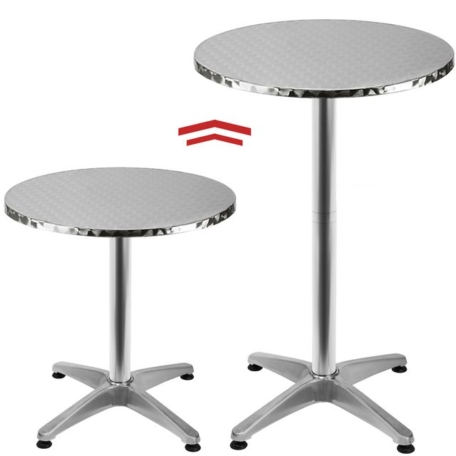 rocambolesk superbe table de bar table haute bistrot aluminium table ronde acier inox neuf nc pas cher achat vente bars rueducommerce - Table Ronde Bar