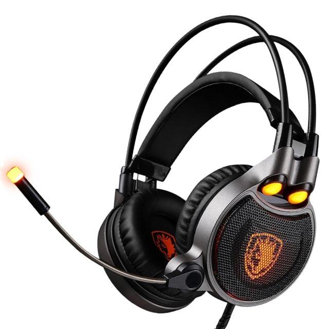 wewoo casque pc noir et orange pour pc ordinateur portable usb gaming headset 7 1 canaux. Black Bedroom Furniture Sets. Home Design Ideas