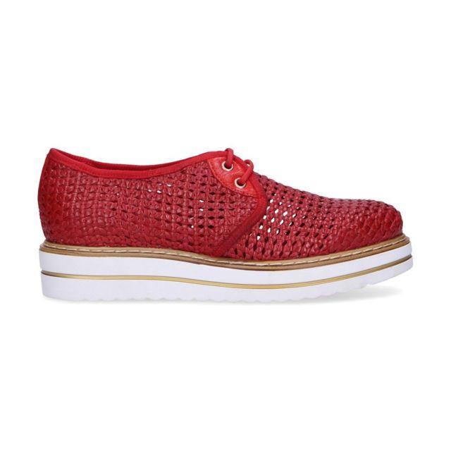 Jackal Femme Jl75369 Rouge Cuir Chaussures À Lacets