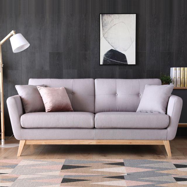 Concept Usine Höga Gris clair : Canapé scandinave 3 places gris clair + 2 coussins