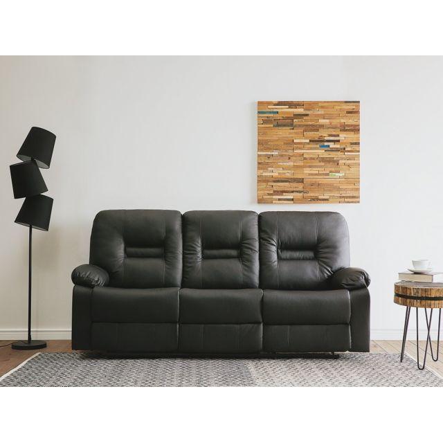 Beliani Canapé 3 places en simili cuir noir avec position réglable Bergen