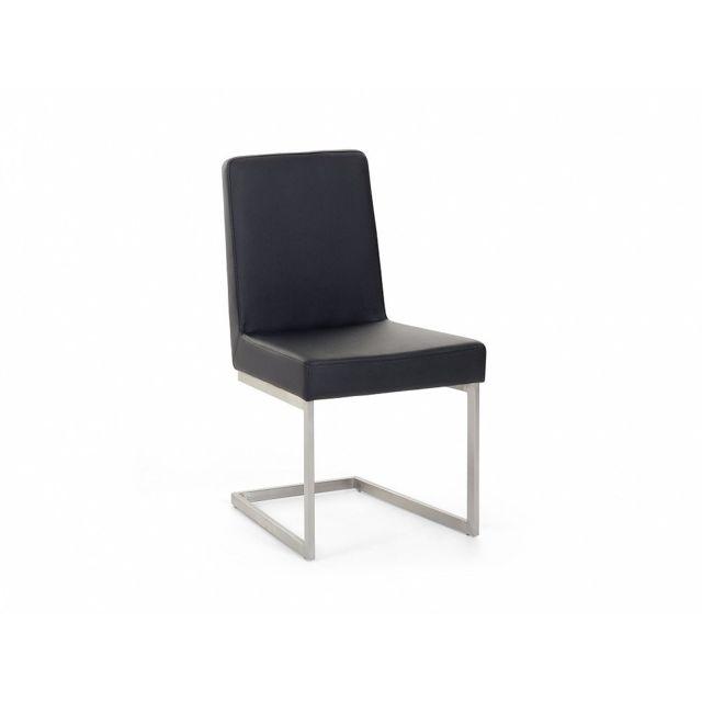 Beliani Chaise de salle à manger - acier inox et cuir - noir - Arctic