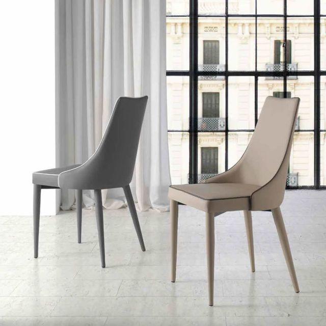 Nouvomeuble Chaise salle à manger design grise Katia lot de 2
