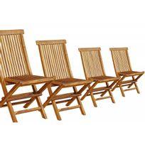 Wood-en-Stock - Lot de 4 chaises pliantes en teck huilé