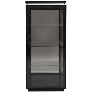 soldes comforium vitrine noire laqu e porte vitr e avec clairage pas cher achat vente. Black Bedroom Furniture Sets. Home Design Ideas