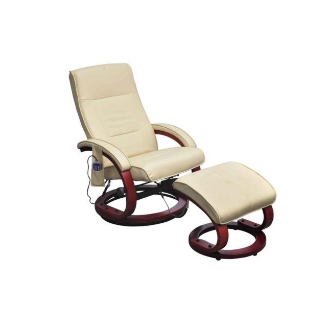 Fauteuil de massage et repose pied Cuir synthétique Crème | Crème