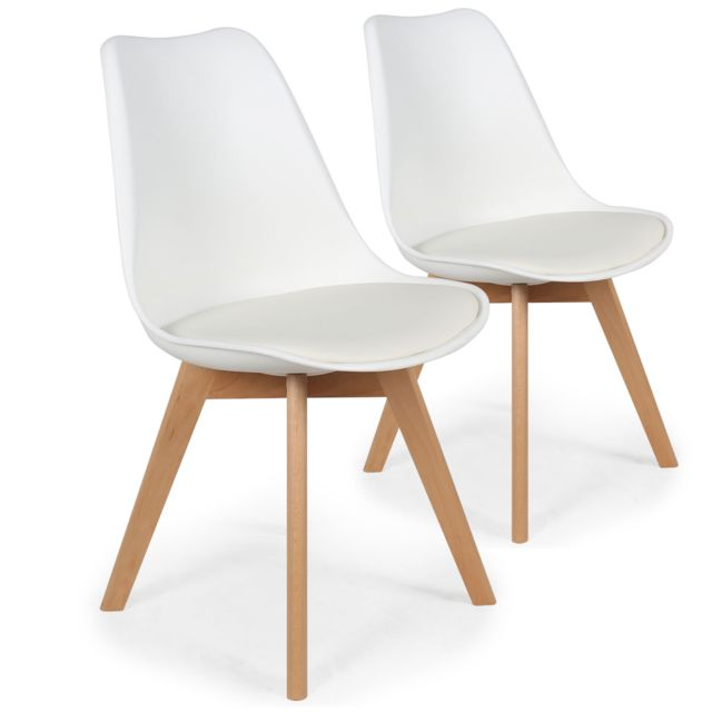 menzzo lot de 2 chaises style scandinave bovary blanc - Chaise Style Scandinave