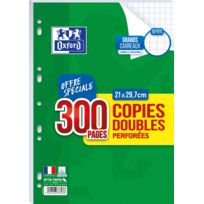 OXFORD - Lot de 300 copies doubles perforées A4 - Grands carreaux