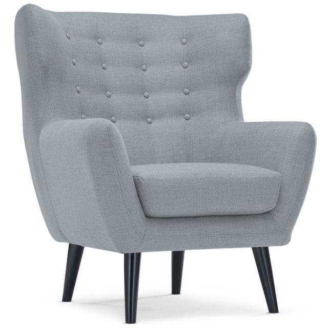 Menzzo fauteuil scandinave depalma tissu gris
