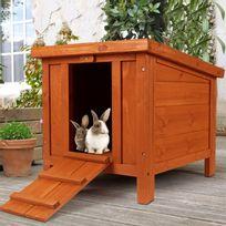 Idmarket - Clapier pour lapins et rongeurs en bois avec porte 70d189e483bf