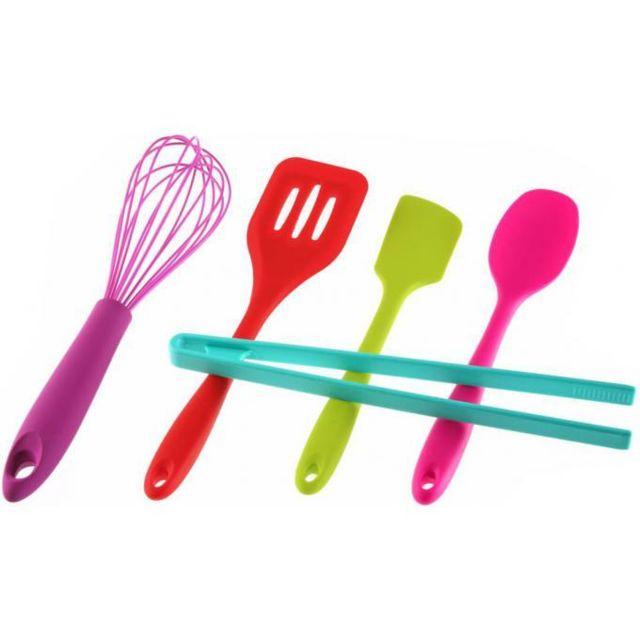 Declikdeco Set de 5 ustensiles de cuisine multicolores Cookpop