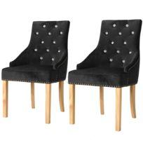 Vidaxl Chaises de salle à manger 2 pcs Noir Chêne massif